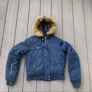 American Eagle Puffer Bomber Jacket Fur Hood XS